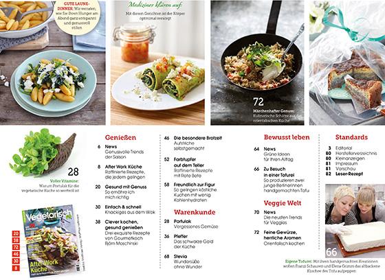 Die vielen Themen der Ausgabe auf einen Blick: von A wie After Work Küche, über P wie Portulak, bis W wie Knackiges aus dem Wok.