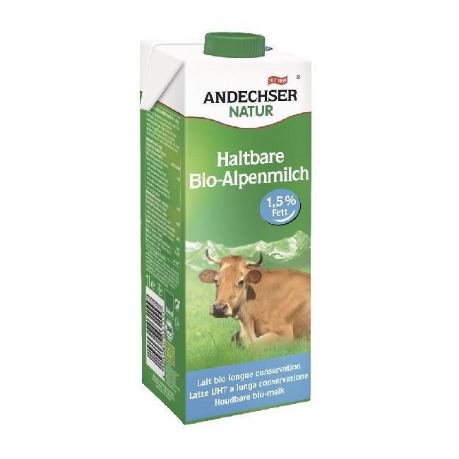 Andechser Natur fettarme Bio Alpenmilch haltbar 1l Tetrapack