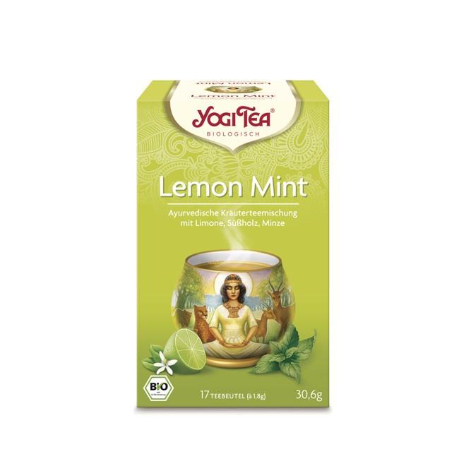 Yogi Tea Lemon Mint Tee belebend und erfrischend ohne Gentechnik und vegan bzw. Koscher