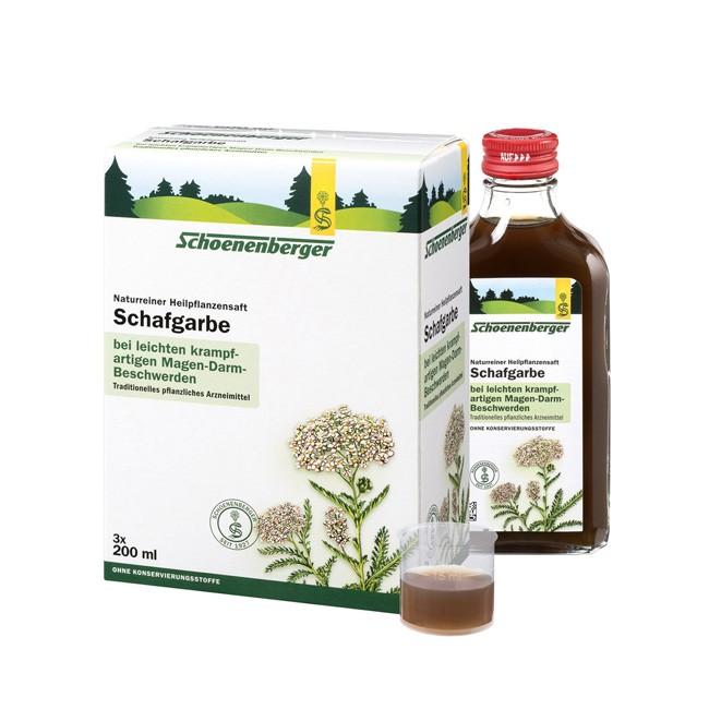 Schoenenberger Naturreiner bio Heilpflanzensaft Schafgarbe wirkt entkrapfend im Magen Darm Bereich