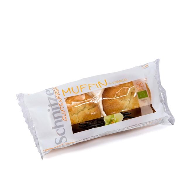 Glutenfreie Bio Muffins von Schnitzer aus hellem Vanille Rührteig