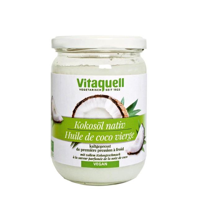Natives Kokosöl von Vitaquell im 430g Glas für die Vegane Küche zum Backen Braten und Fritieren da es hitzestabil ist auch für Glasuren geeignet