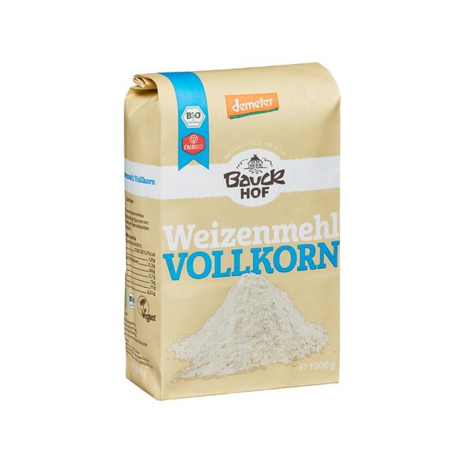 Bauckhof Bio Weizen Vollkorn Mehl zum Backen für Pizza Brot und Kuchen Teig 1kg ohne Aroma, synthetische Farbstoffe, synthetische Konservierung