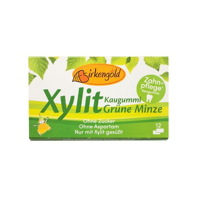 Birkengold Xylit Kaugummi Grüne Minze 12 Stk.