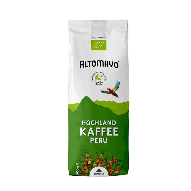 Altomayo BIO Hochland Kaffee 500g gemahlen - bester Peru Kaffee