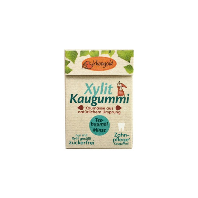 Birkengold: Xylit Kaugummi Teebaumöl Minze Natur (20 Stk)
