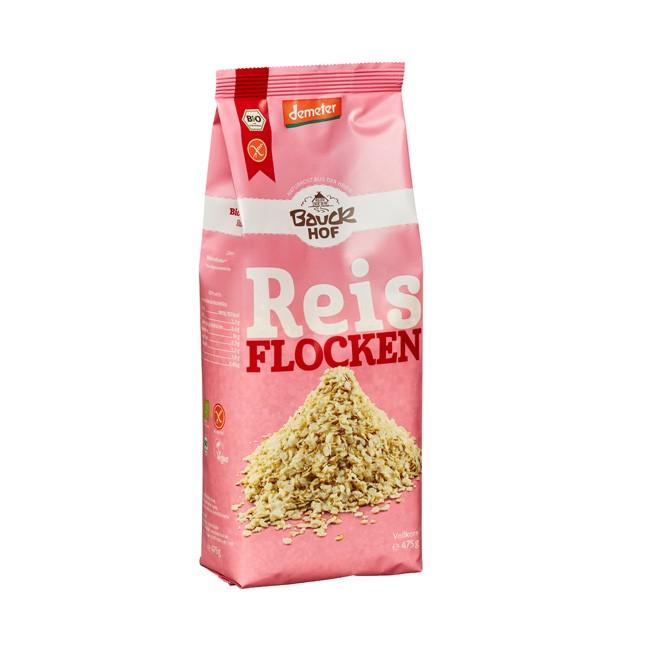 Bauckhof Vollkorn Reisflocken glutenfrei und in Demeter Qualität - 475g