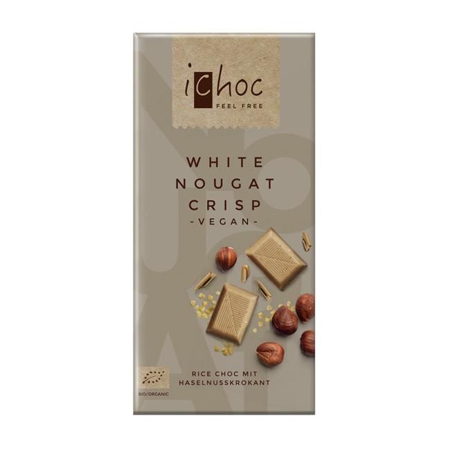 Vegane White Nougat Crisp Reismilchschokolade von i-Choc (80g)