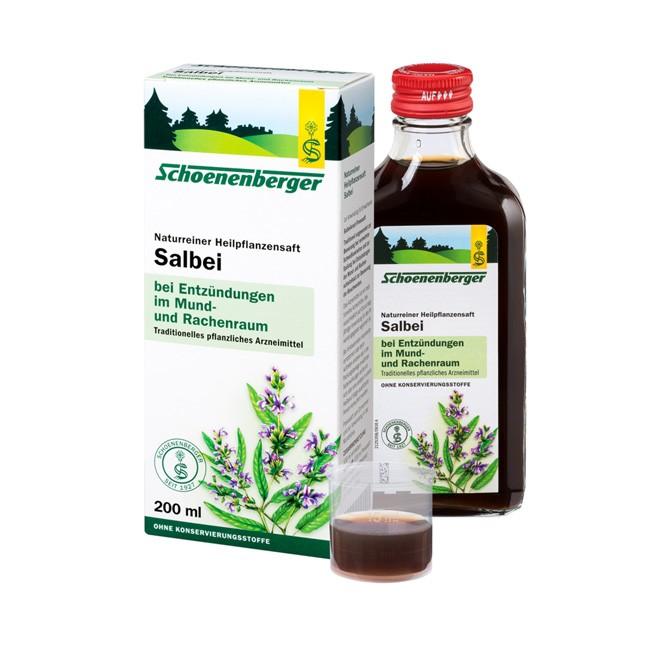 Schoenenberger Naturreiner Heilpflanzensaft Salbei gut bei sämtlichen Entzündungen im Mund- und Rachenraum zur Spülung Bio Salbei 200ml