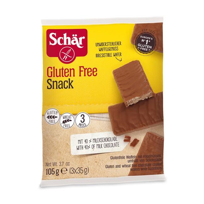Dr.Schär Snack Glutenfreie Waffeln mit Haselnüssen umhüllt von Schokolade 105g