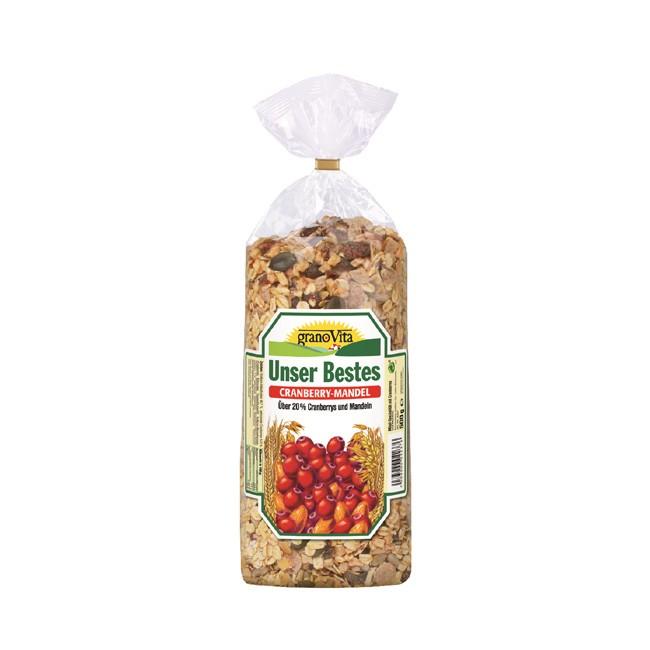 Unser Bestes Cranberry Müsli von granoVitamit Bio Zutaten und Antioxidantien 500g