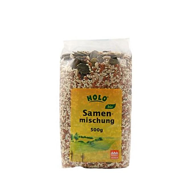 HOLO Samenmischung (500g) vegan und bio - mit Steirischen Kürbiskernen, Sonnenblumenkernen, brauner Leinsaat und geschälter Sesamsaat