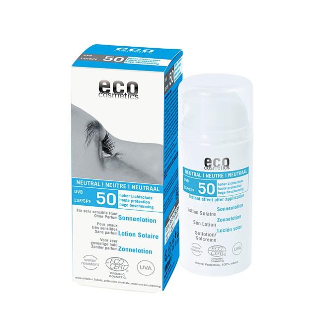 Parfumfreie Sonnenlotion LSF 50 von eco cosmetics - 100ml, bio & vegan