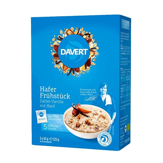 Ayurvedischer Bio Porridge - Hafer Frühstück mit Datteln, Vanille und Hanf von Daver