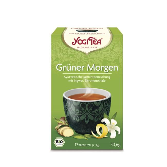 Grüner Tee zum Sinne schärfen mit einem Hauch Rose Grüner Morgen Tee von Yogi Tea bio