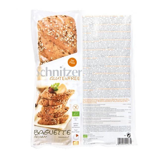 Schnitzer's herzhaft-knuspriges glutenfreies Bio Baguette mit Leinsamen und Sesam (2 St.)