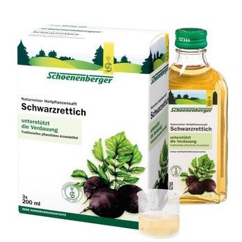 Schoenenberger Naturreiner Heilpflanzensaft Schwarzrettich fördert den Gallenfluss gut bei leichten Verdauungschwierigkeiten bio 600ml