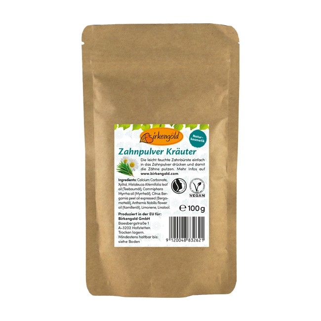 Birkengold: Zahnpulver Kräuter im Nachfüllpack (100g)