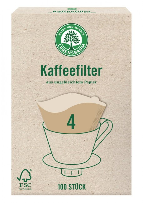 Lebensbaum Kaffeefilter Größe 4 (100 Stk)**