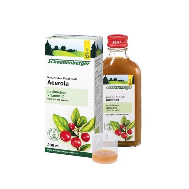 Schoenenberger naturtrüber Bio Acerola Kirschen versorgt Citrus-Allergiker mit Vitamin C aus Bio Anbau 200ml