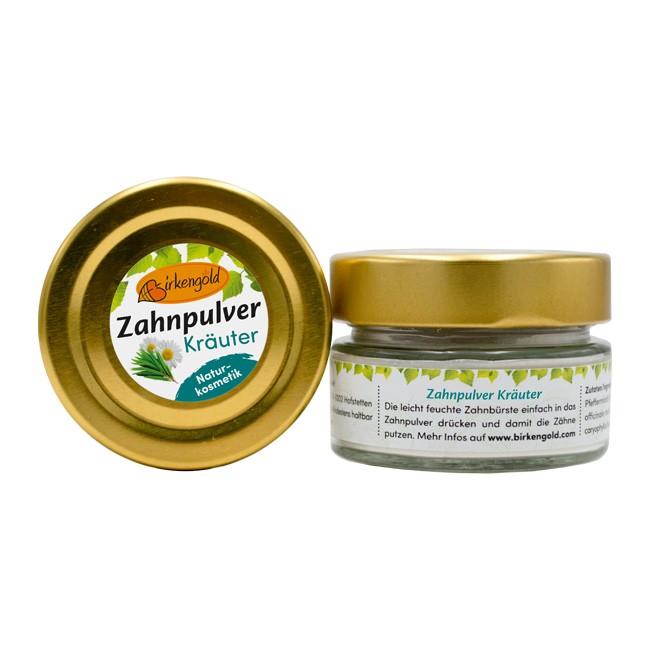 Birkengold Zahnpulver im Glas - Kräutergeschmack