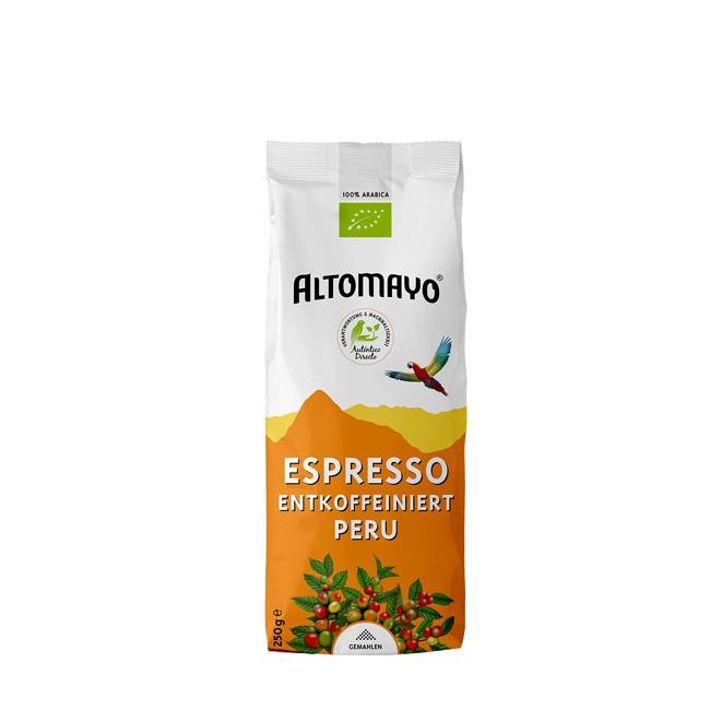 Entkoffeinierte Espresso Bohnen von Altomayo - Bio aus Peru 250g