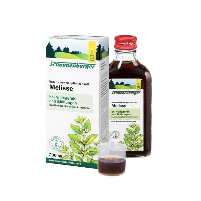 Naturreiner Heilpflanzensaft Melisse von Schoenenberger bei funktionellen Magen-Darm-Beschwerden 200ml Bio Anbau