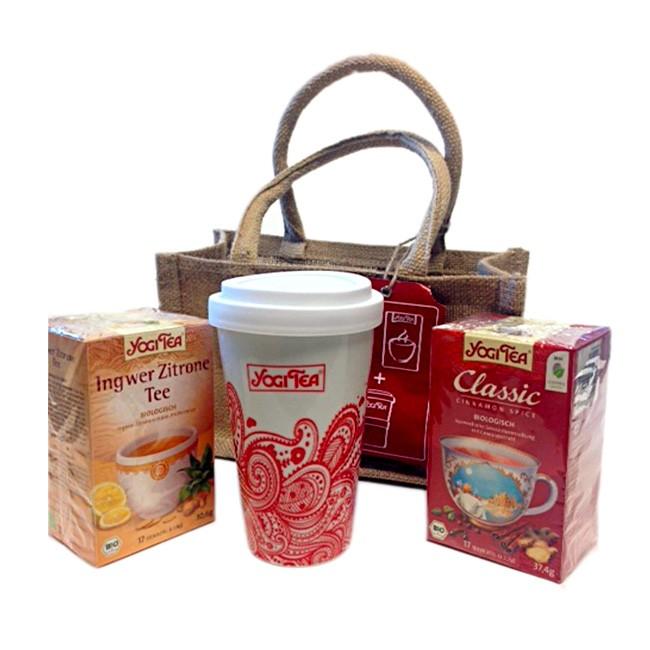 To Go Set von Yogi Tea mit Tasse und 2 Sorten ayurvedischen Tee in Bio Qualität