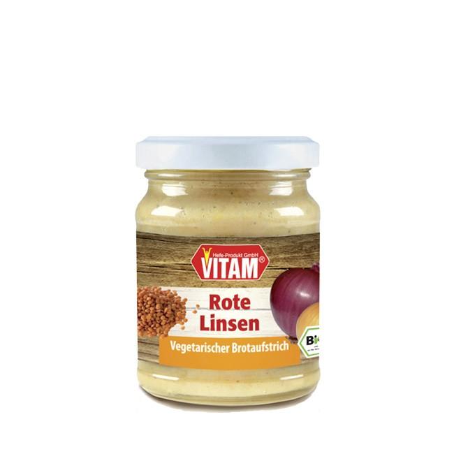 Brot Aufstrich Vegetarisch von Vitam mit neuer Geschmacksrichtung Rote Linse bio 120g Glas