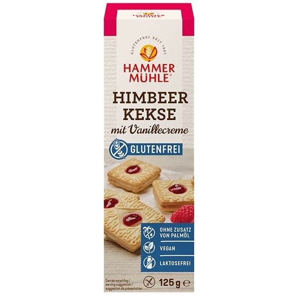 Hammermühle : Glutenfreie Himbeerkekse mit Vanillecreme (125g)
