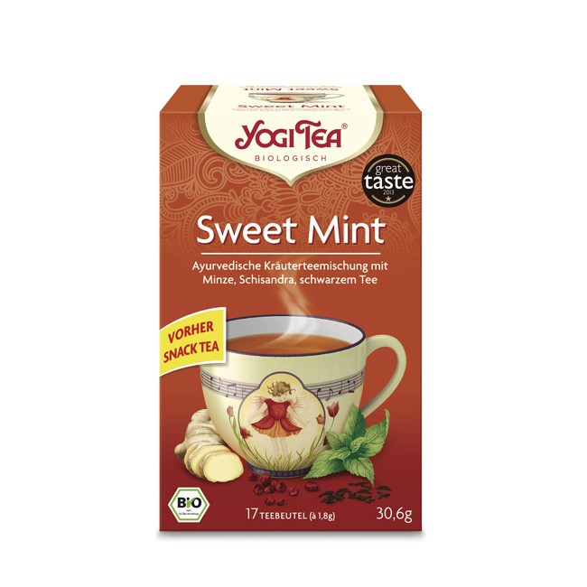 Yogi Tea Tee Sweet Mint mit Assam Schwarzen Tee und Schisandra Beere bio