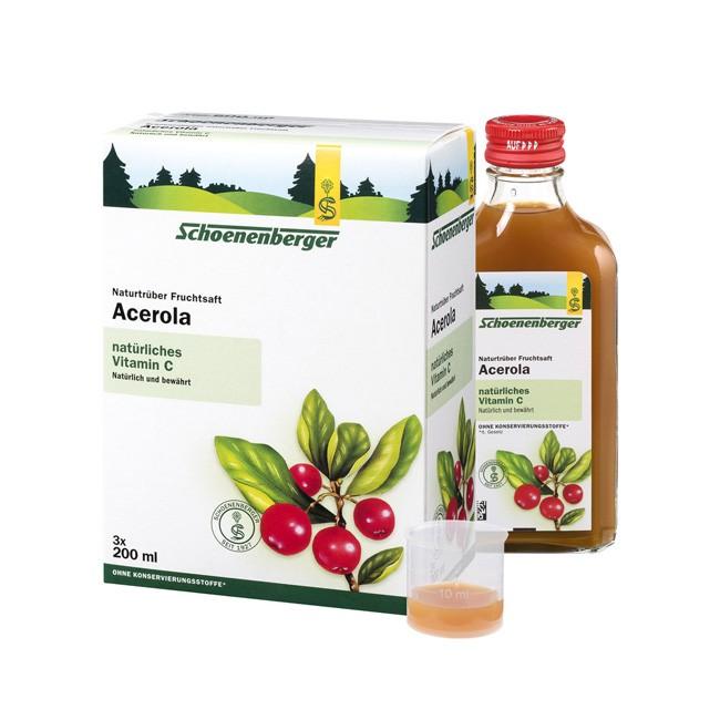 Schoenenberger naturtrüber Bio Acerola Kirschen Saft versorgt Citrus-Allergiker mit 30mal mehr Vitamin C als Zitronen aus Bio Anbau 600ml