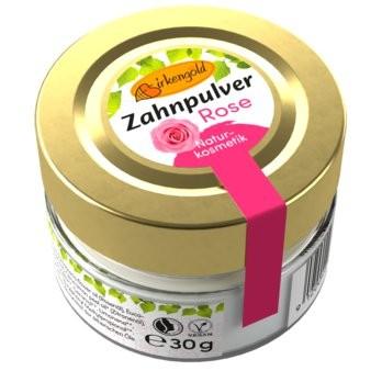 Birkengold Zahnpulver im Glas mit Rosengeschmack