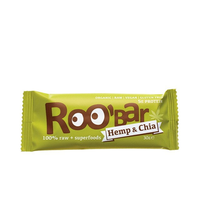 Bio Rohkostriegel 30g von Roo'bar Hanfprotein und Chia  mit viel Omega 3 und Aminsäuren