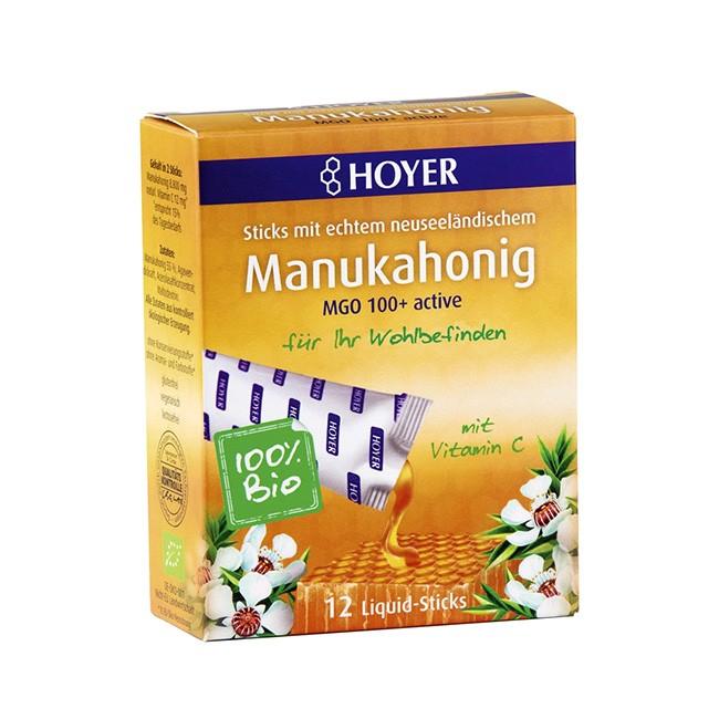 Manuka Honig 100+ in 12 einzelnen Portionspackungen von Hoyer - bio, glutenfrei und laktosefrei