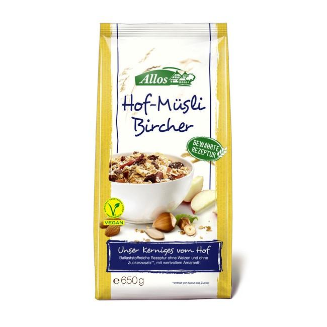Lecker Bircher Hof-Müsli Mischung mit Haferflocken, Trockenfrüchten und kernigen Nüssen von Allos