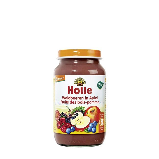 Bio Gläschenkost ab dem 8. Monat - Holle Juniorkost - Waldbeeren in Apfel (220g)