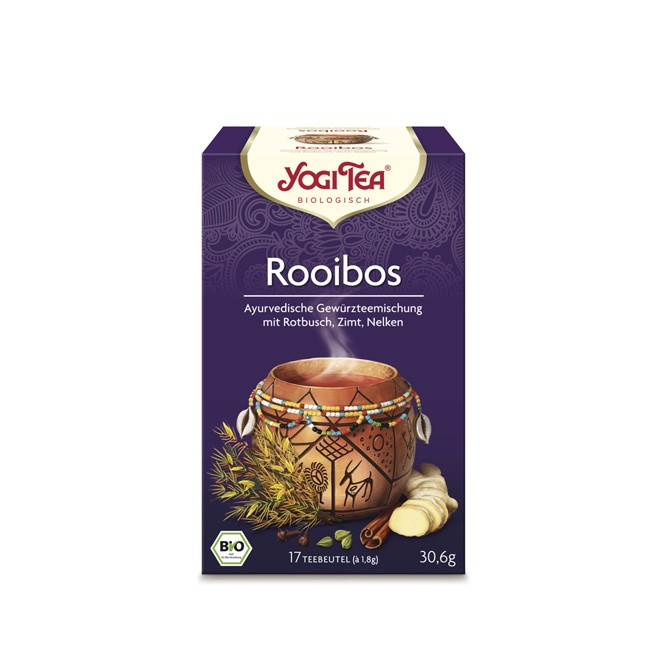 Yogi Tea Rooibos Tee mit einem kontinentalem Geschmackserlebnis durch ausgewählte Zutaten Karob, Zimt, Ingwer Bio Landbau ohne GMO