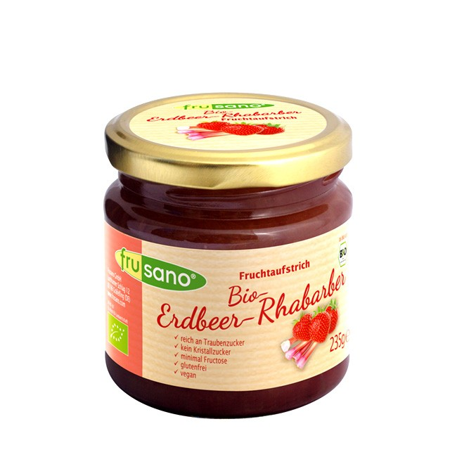 FRUSANO fructosarmer Brotaufstrich mit Erdbeer-Rhabarber (235g)