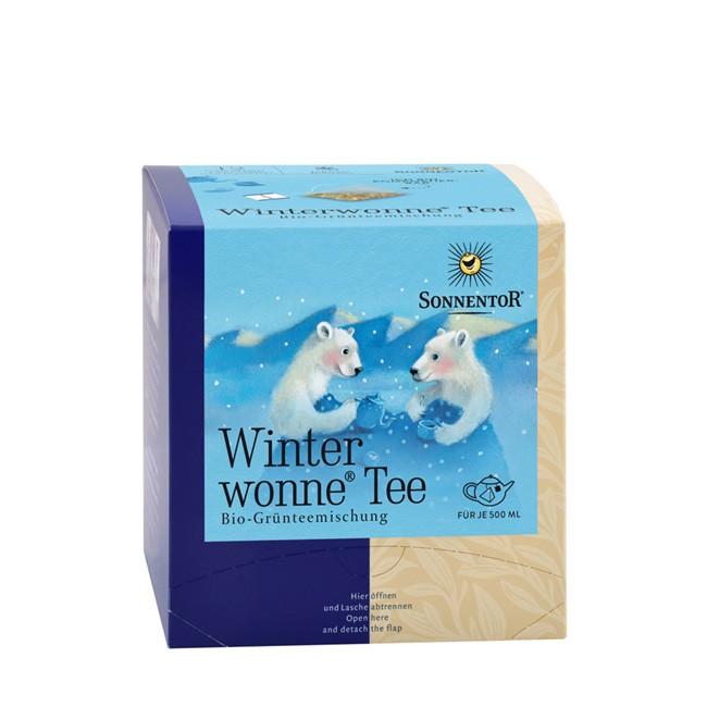 Winterwonne Tee im Pyramidenbeutel Sonnentor Grüntee (12 Beutel = 30g)
