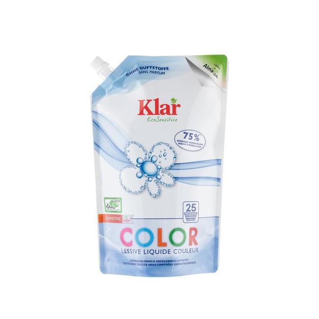 Flüssiges Color Waschmittel im ÖKO-Pack von KLAR aus dem Hause AlmaWin