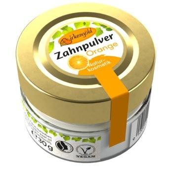 Birkengold Xylith Zahnpulver mit fruchtigem Orangengeschmack