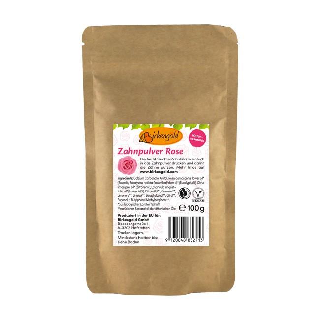Birkengold - Zahnpulver Rose für die tägliche Zahnreinigung (100g) im Nachfüllpack
