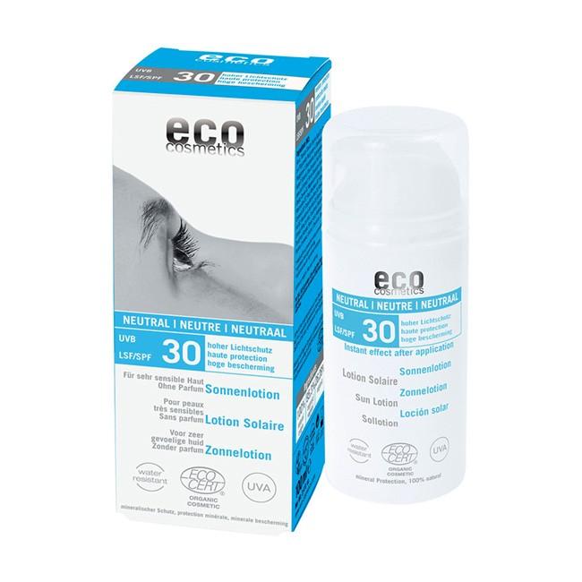 Sonnenlotion für empfindliche Haut von eco cosmetics mit LSF 30 - neutraler Duft