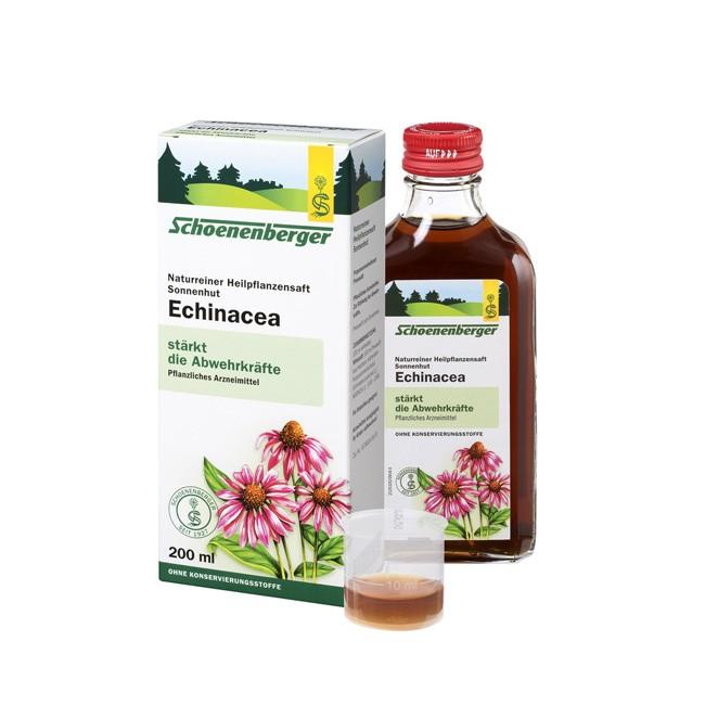 Naturreiner Heilpflanzensaft Sonnenhut von Schoenenberger zur Behandlung häufig wiederkehrender (rezidivierender) Infekte Bio Anbau