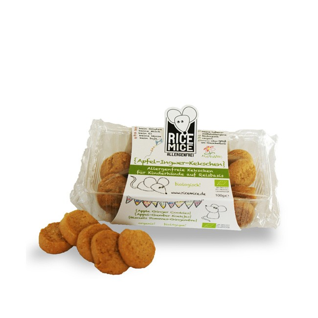 Rice Mice leckere Bio Kinder Kekse mit Apfel und Ingwer (100g) allergenfrei