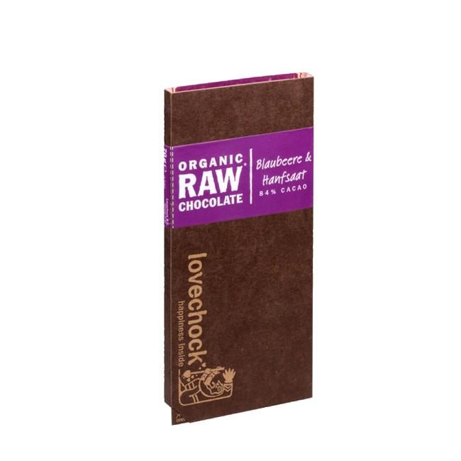 Lovechock Bio Rohschokolade Blaubeere mit Hanfsaat (70g)