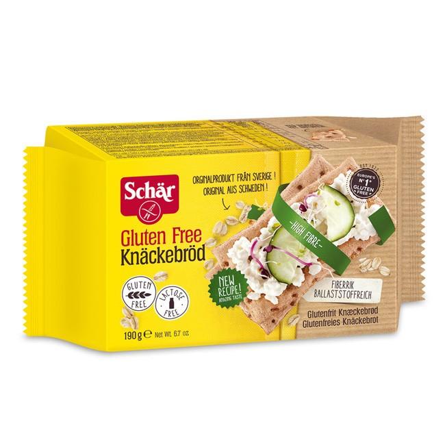 Ballaststoffeiches glutenfreies Knäckebrot von Dr. Schär - mit Hafermehl (190g)
