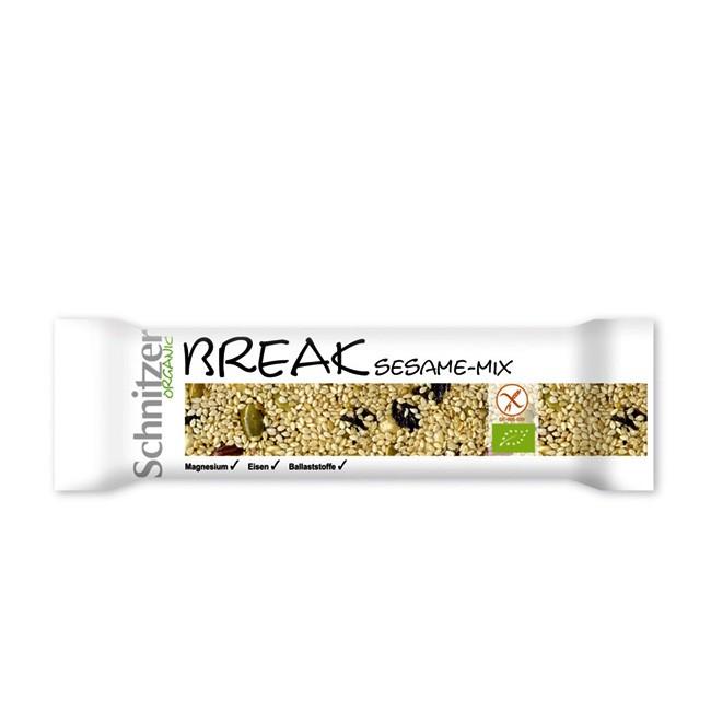 Glutenfreier Snack mit Erdnüssen und Sesam - Bio von Schnitzer 40g Riegel
