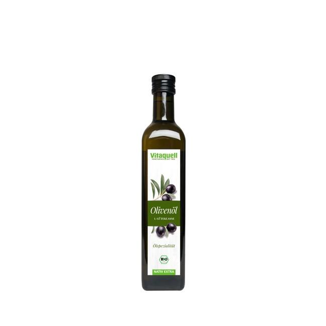 Vitaquell native Olivenöl bio Italien 500ml fruchtige Note mit typischer Bitterkeit